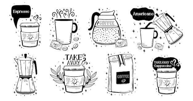 落書きコーヒードリンクスケッチ。アラビカアロマデザインメニューカフェ。白い背景で隔離の黒い要素。