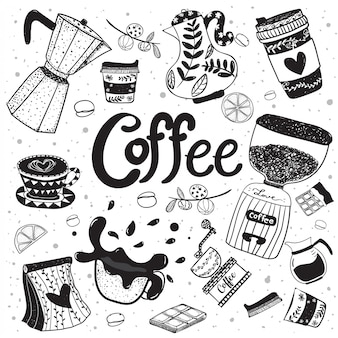 Doodle coffee equipment hand drawing flat vector element