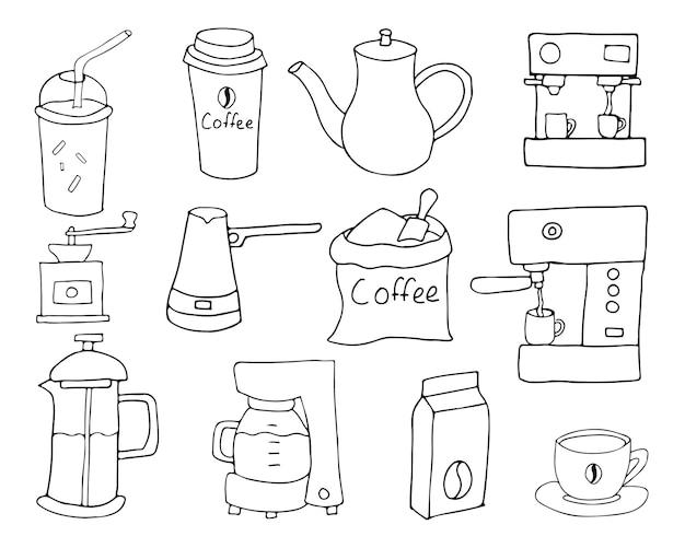 Коллекция иконок кофе каракули в векторе. коллекция иконок рисованной кофе в векторе.
