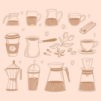 コーヒーショップアイコンを落書き。カフェメニューのコーヒーと紅茶の絵