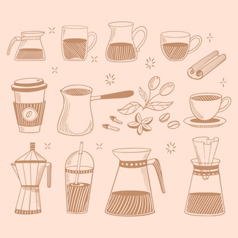 Doodle coffee shop icons.  coffee and tea drawings for the cafe menu