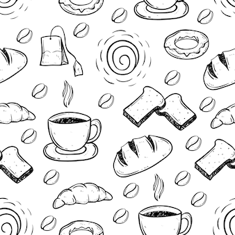 Doodle coffee time seamless pattern
