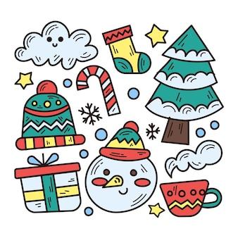 冬のテーマイラストの落書きコレクション
