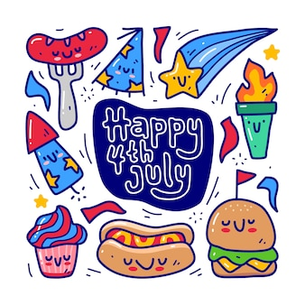Doodle collection set of 4th of july element