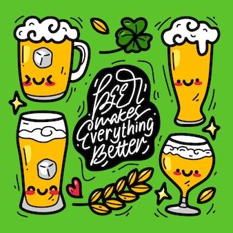 Doodle collection set of beer element. international beer day