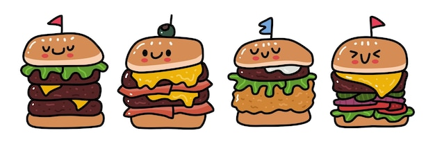 Doodle collection set of burger
