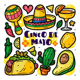 Doodle collection set of cinco de mayo elements
