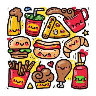 Doodle collection set of food and beverage element