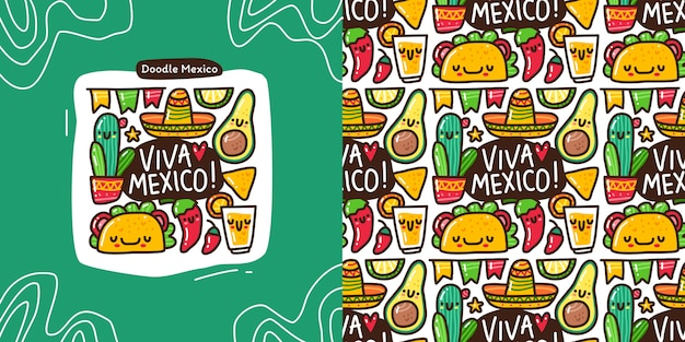 Doodle collection set of mexico element and seamless pattern