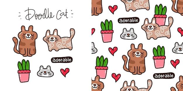 Doodle набор сбора элемента cat и бесшовные модели кота
