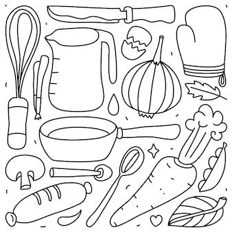 Набор сбора каракули кулинарного элемента на изолированные