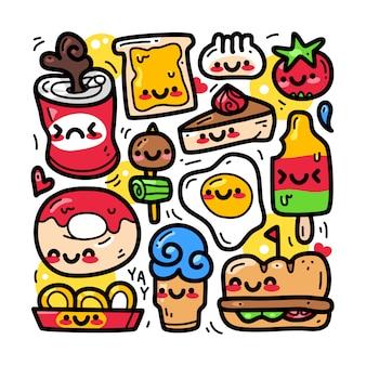Doodle коллекция набор элементов продуктов питания и напитков.