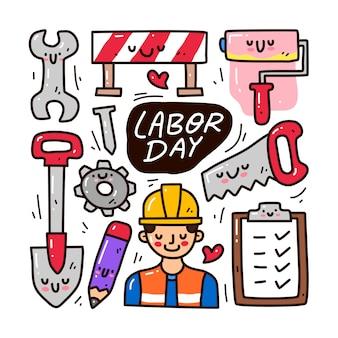 労働日の要素の落書きコレクションセット