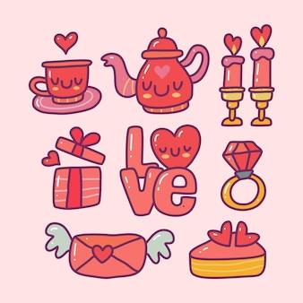 孤立した背景にバレンタイン要素のコレクションセットを落書きします。幸せなバレンタインデー