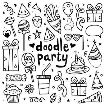 Doodle collection set of party element.