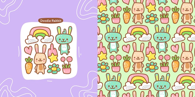 Doodle collection set of rabbit element and seamless pattern rabbit