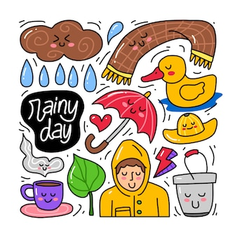 Doodle collection set of rainy day