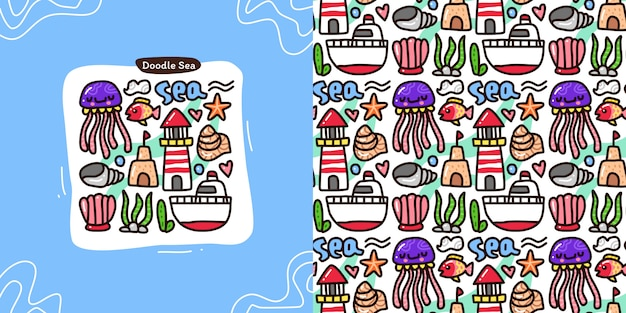 Doodle collection set of sea element and seamless pattern