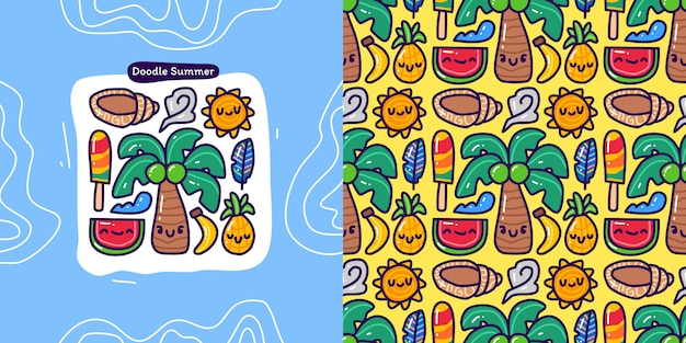 Doodle collection set of summer element and seamless pattern