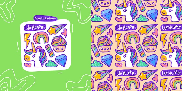 Doodle collection set of unicorn element and seamless pattern unicorn