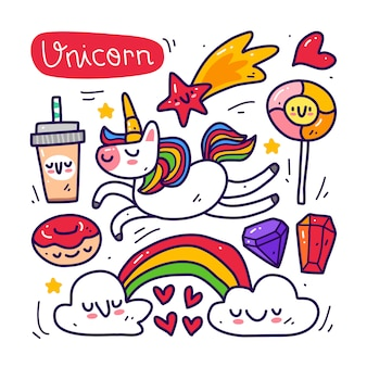 Doodle collection set of unicorn and element