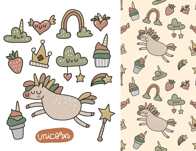 Doodle collection set of unicorn elements and seamless pattern in scandinavian style