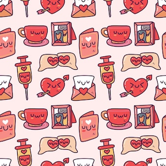 Doodle collection set of valentine element seamless pattern. happy valentine's day