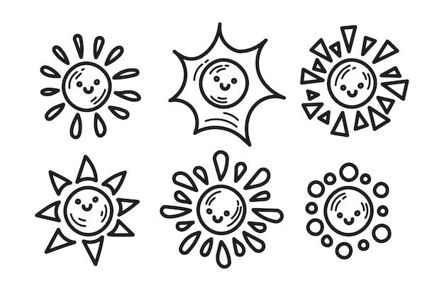 Doodle collection of sunshine illustration