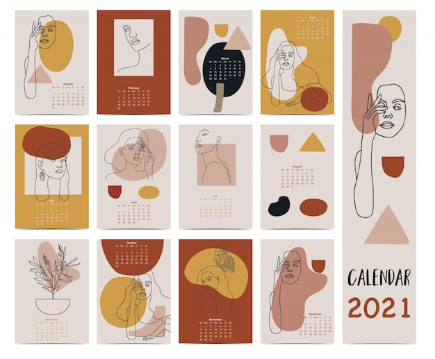 비즈니스, 얼굴, 여자, 원, 사각형, 형상, 삼각형으로 2021 낙서 컬러 달력 설정. 인쇄용 그래픽에 사용할 수 있습니다