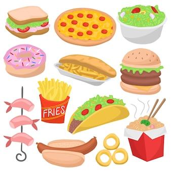 Фаст-фуд doodle color menu icon ресторанное питание