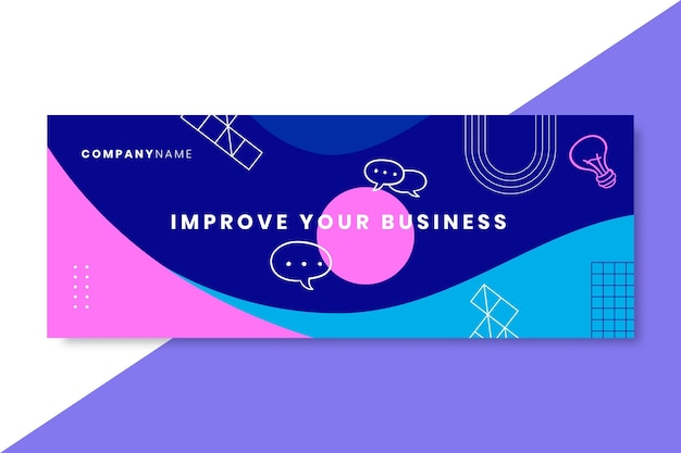 Doodle colorful business facebook cover