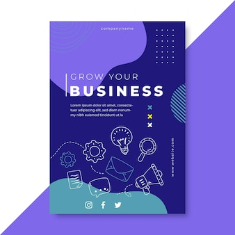 Doodle colorful business flyer