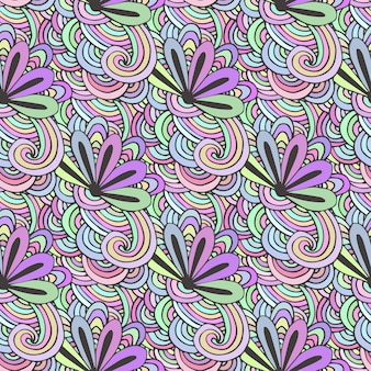 Doodle colorful pattern with flowers in vector. zentangle coloring page