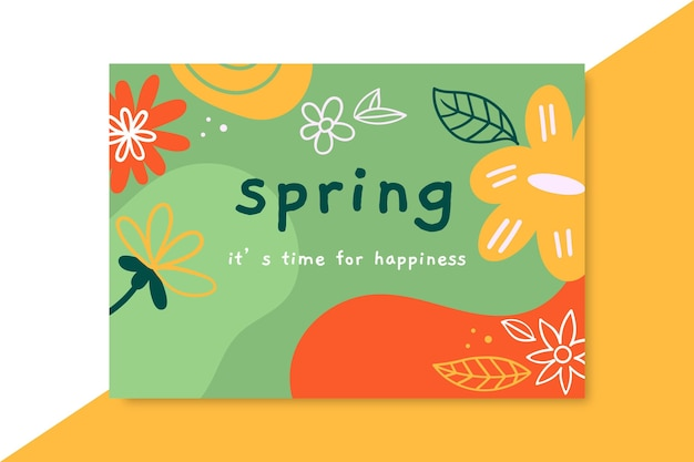 Doodle colorful spring card