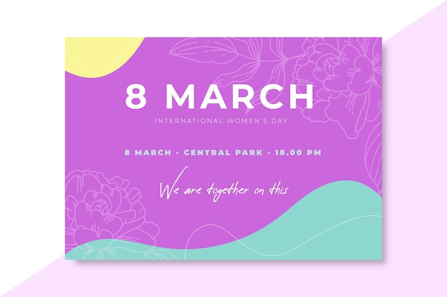 Doodle colorful women's day invitation