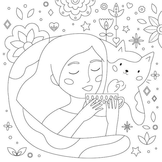 Каракули раскраски страницу с чашкой чая женщины и забавным котом