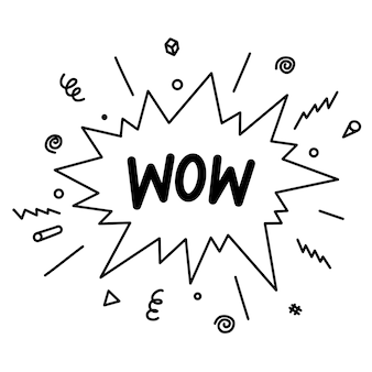 Каракули комический мультфильм взрыва. ручной обращается комические речевые пузыри с текстом вау, изолированные на белом фоне для веб-сайтов, плакатов, баннеров и концептуального дизайна. векторные иллюстрации.