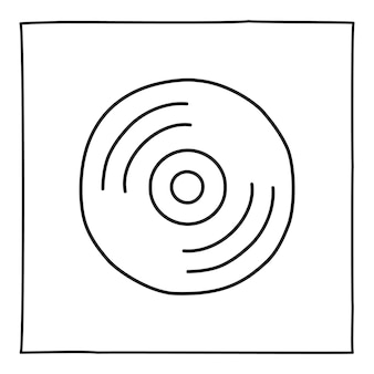 Doodle computer cd disc icon hand drawn with thin black line
