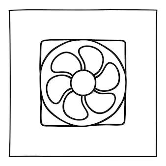 コンピューターのファンのアイコンまたはロゴを落書き、細い黒い線で手描き。白い背景で隔離。ベクトルイラスト