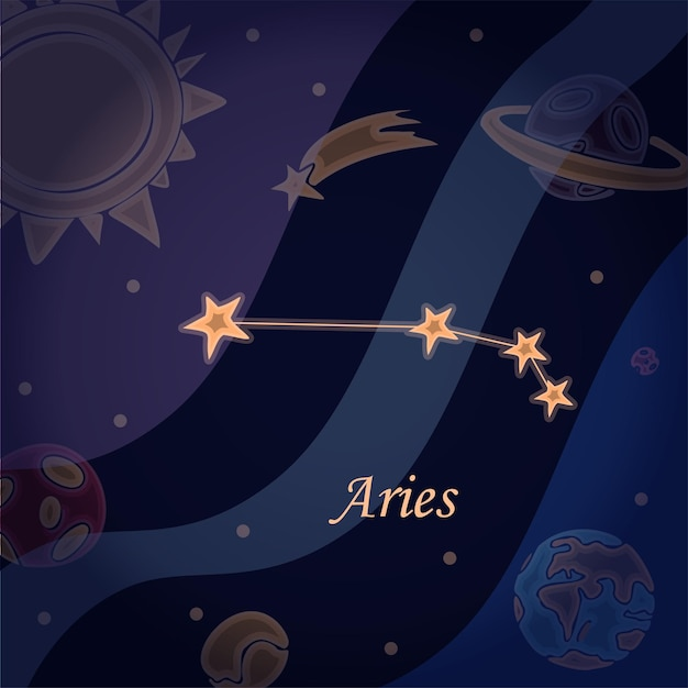 Doodle constellation of the aries symbol of the zodiac signs vector illustration of astrology and as...