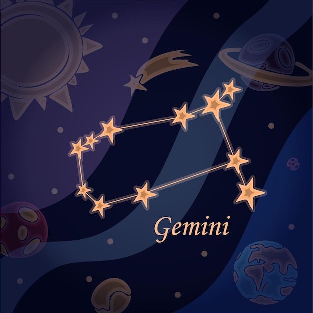 Doodle constellation of the gemini symbol of the zodiac signs vector illustration of astrology and a...