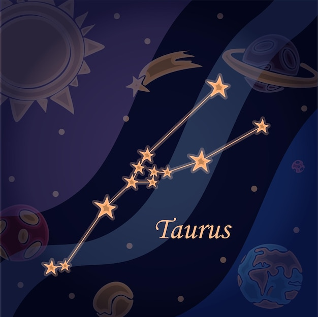 Doodle constellation of the taurus symbol of the zodiac signs vector illustration of astrology and a...