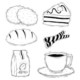 흰색 배경에 낙서 쿠키와 커피 브레이크 그림