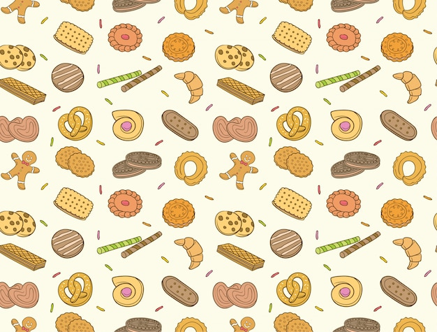 Doodle cookies and biscuit seamless pattern