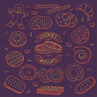 Doodle cookies and biscuits neon color  over dark background