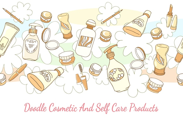Doodle cosmetic and self care products hand drawn background. lotion and shampoo, tube and powder horizontal seamless pattern. hand drawn cosmetic and self care products vector background