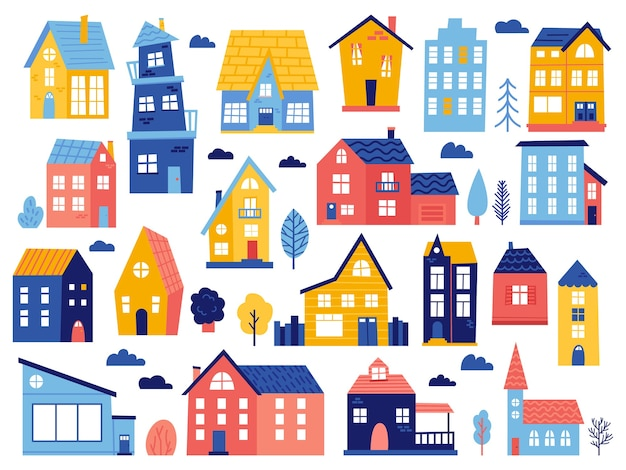 Doodle cottages. cute tiny town houses, minimal suburban houses, residential town buildings  icons. exterior tiny village building, illustration of home cartoon architecture, urban residential