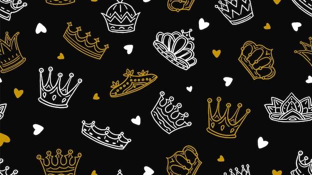 낙서 왕관 패턴. 골드 화이트 왕실 요소 twall. 어린 왕자 또는 공주 원활한 텍스처. 그림 왕관 왕실, 황금 여왕