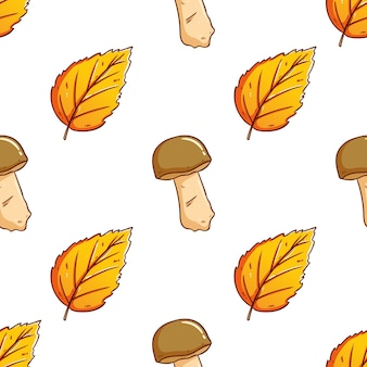 Doodle cute autumn leaves with mushroom seamless pattern background