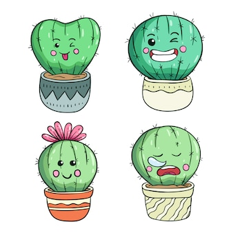 Doodle cute cactus illustration with kawaii face or expression